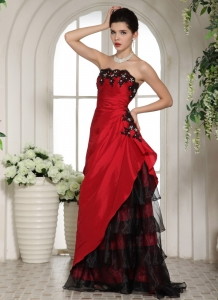 Wine Red and Black Ruching Prom Dress Ruffled Layeres