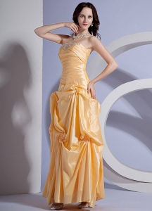Yellow Pleated Ankle-length Taffeta Prom Dress Appliques