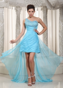Aqua Blue One Shoulder Beading Prom Dress High-low