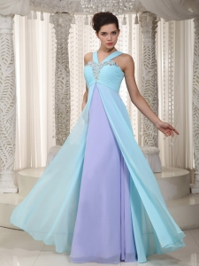 Aqua Blue and Lavender Empire Prom Dress Straps Beading