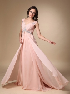 Baby Pink Empire Straps Beading Evening Dress