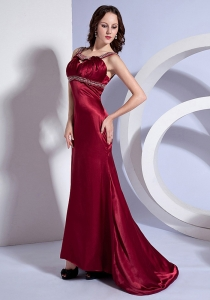 Straps Wine Red Brush Train Prom Dress Beading Bodice