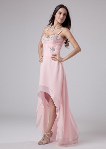Baby Pink High-low Prom Dress Spaghetti Straps