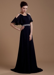 Beaded Black V-neck Mother Of The Bride Dress
