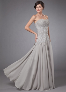 Sweetheart Empier Chiffon Beading Grey Prom Dress
