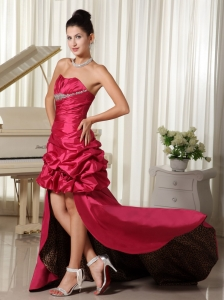 Hot Pink High-low Beading Prom Dress Ruching