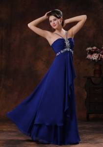 Beaded Royal Blue V-neck Prom Dress