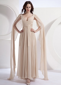 Champagne V-neck Watteau Chiffon Empire Prom Dress