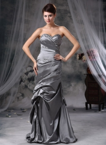 Gray Column Sweetheart Beading Prom Dress