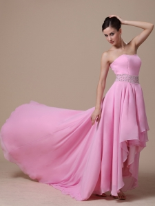 High-low Baby Pink and Beaded Decorate Evening Dress