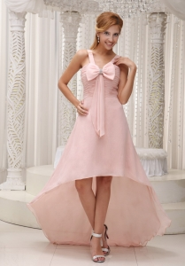 High-low Homecoming Dress Ruched Bowknot Light Pink