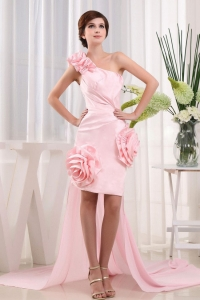 High-low One Shoulder Baby Pink Prom Dress Strapless
