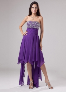 Beaded Purple Chiffon Ruching High-low Prom Dress