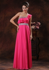 One Shoulder Hot Pink Beaded Prom Dress