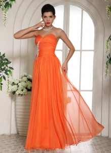 Orange Appliques Ruching Prom Celebrity Dress