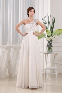 White One Shoulder Beading Prom Celebrity Dress