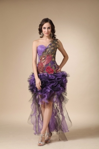 Purple One Shoulder High-low Homecoming Dress