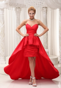 Red High-low Prom / Evening Dress Sweetheart Neckline
