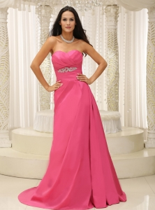 Rose Pink Sweetheart Ruched Appliques Prom Dress