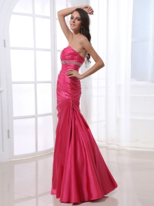 Ruched Bodice and Beading Prom Dress With Hot Pink