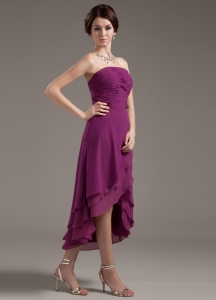 Dark Purple Strapless High-low Prom Dress Ruching