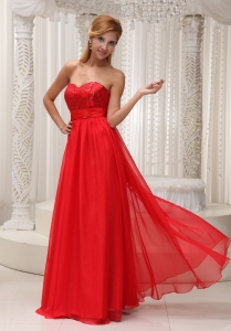 Evening Dress Sequined Up Bodice Sweetheart Red