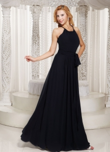 Sheath Scoop Black Sash Prom Dress Party