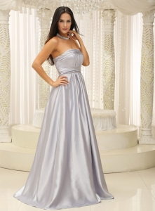 Silver Prom Dress Strapless Ruched Bodice