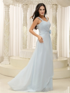 Straps Hand Made Flowers Baby Blue Prom Dress