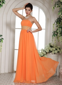 Orange Red Beading and Ruch Prom Dress