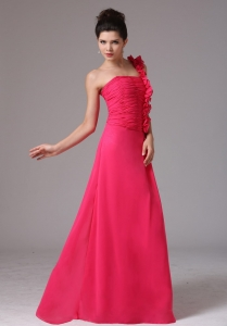Stylish Coral Red One Shoulder Ruched Prom Dress