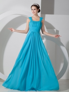 Teal Empire Square Brush Train Ruch Prom Dress
