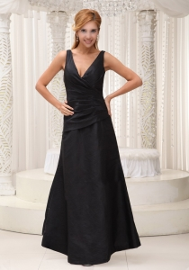 V-neck Black Evening Dress Formal Evening Ruch