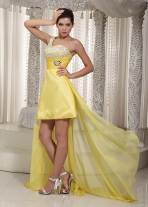 One Shoulder Yellow High-low Chiffon Prom Dress Beading