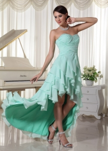 Apple Green Layered High Low Prom Dress Sweetheart
