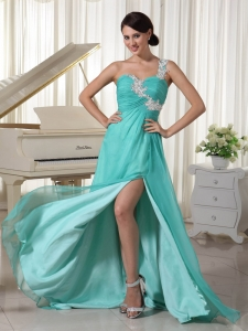 Aqua Appliques One Shoulder Prom Dress High Slit