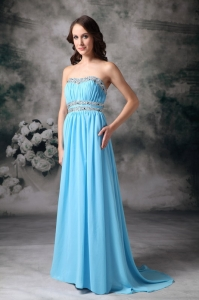 Baby Blue Empire Strapless Beading Evening Dress
