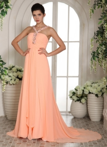 Orange Straps Beading and Ruch Prom Dress