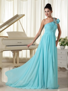 Beaded Decorate Shoulder Ruched Prom Dress