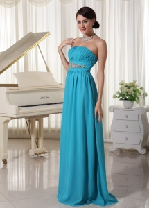 Beaded Decorate Waist Ruched Teal Prom Dress