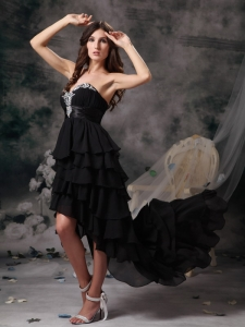 Black Sweetheart Prom Dress High-low Chiffon