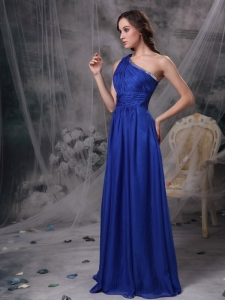 Blue Empire One Shoulder Beading Prom Dress