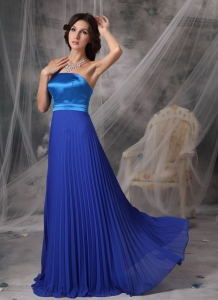 Blue Empire Strapless Evening Dress