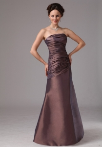 Strapless Brown Ruch Mother Of The Bride Dress