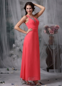 Coral Red Evening Dress One Shoulder Ankle-length