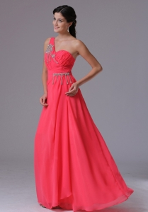 Coral Red One Shoulder Beading Prom Dress