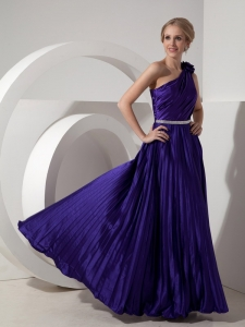 Purple One Shoulder Elastic Woven Prom Dress