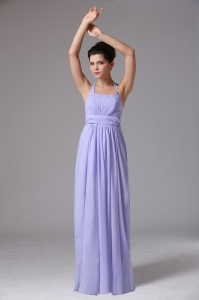Custom Made Lilac Halter Ruched Prom Dress