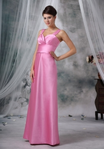 Straps Satin Pink Evening Dress