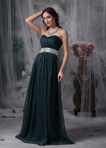 Dark Green Empire Sweetheart Belt Evening Dress